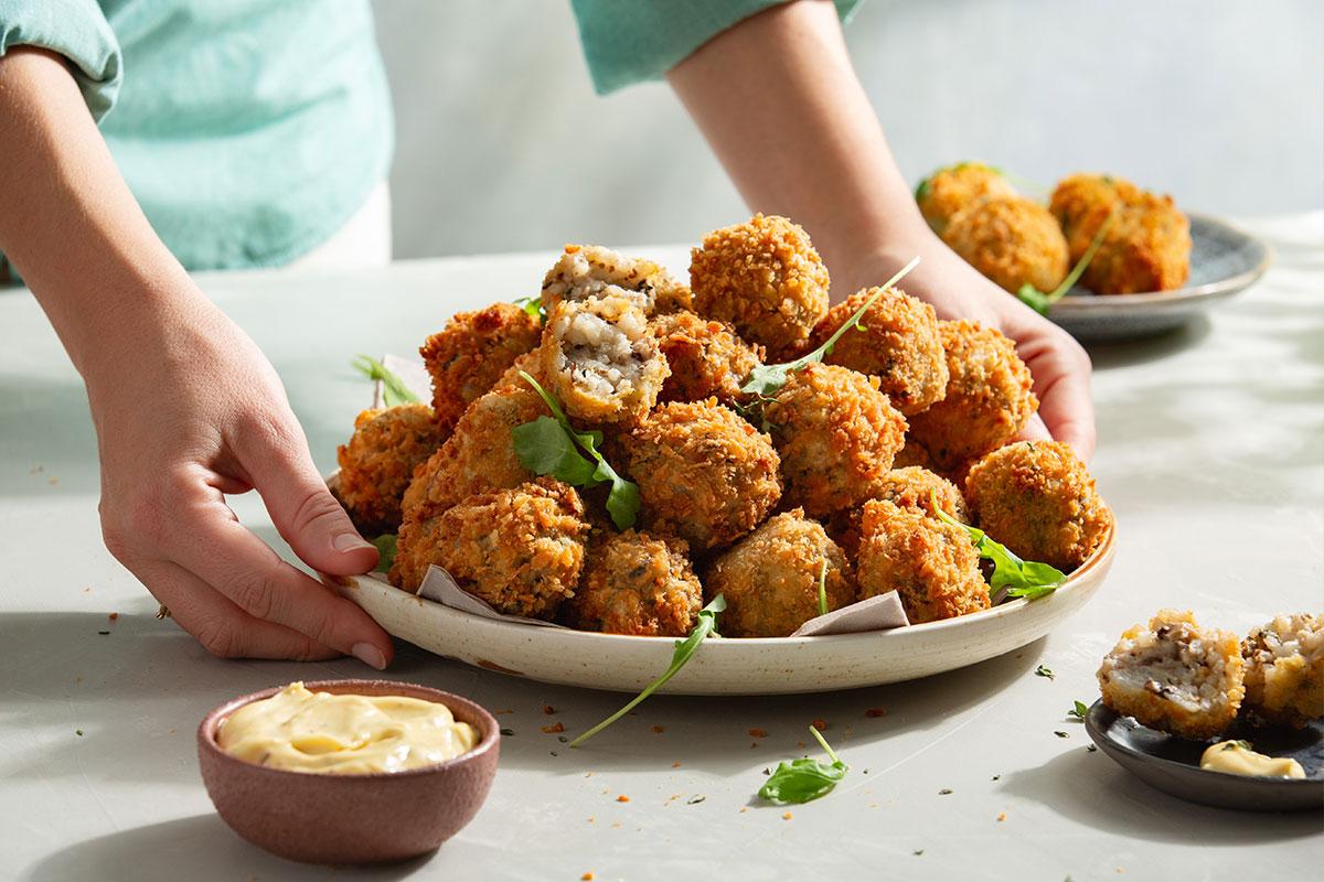 Mini truffel-paddenstoel arancini's